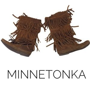 Minnetonka Suede 3-Layer Fringe Mid-Calf Boots
